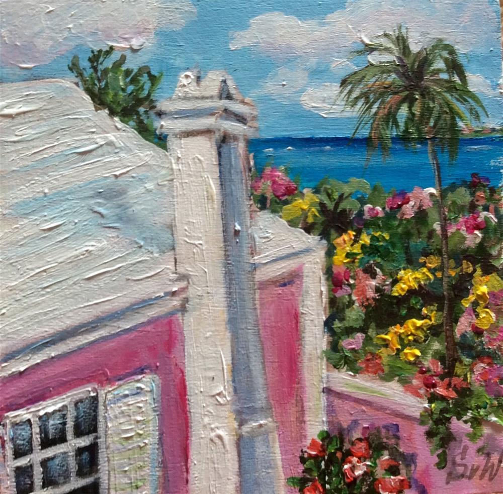 """""""Bermuda pink cottage painting"""" original fine art by Sonia von Walter"""