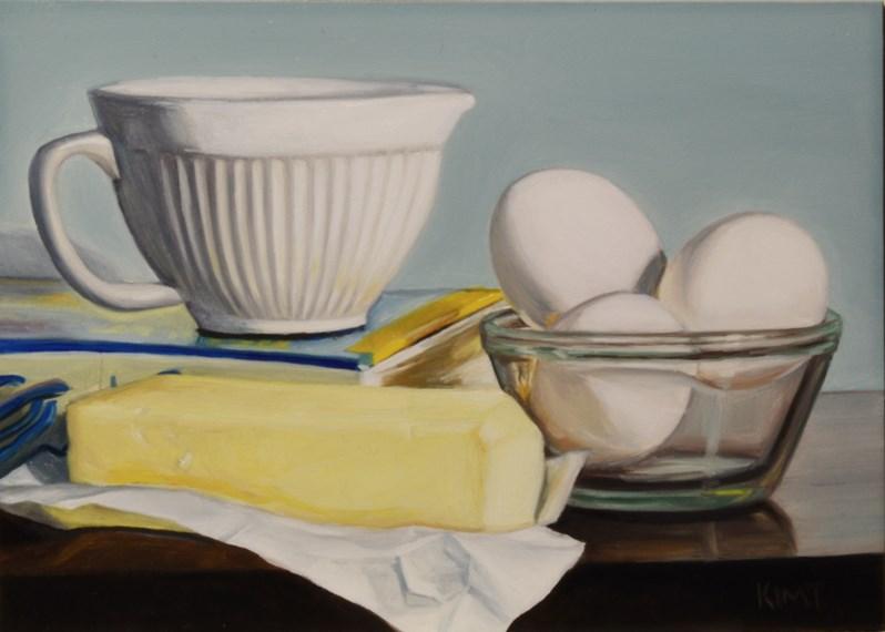 """Kitchen Still Life in Blue, Yellow and White"" original fine art by Kim Testone"