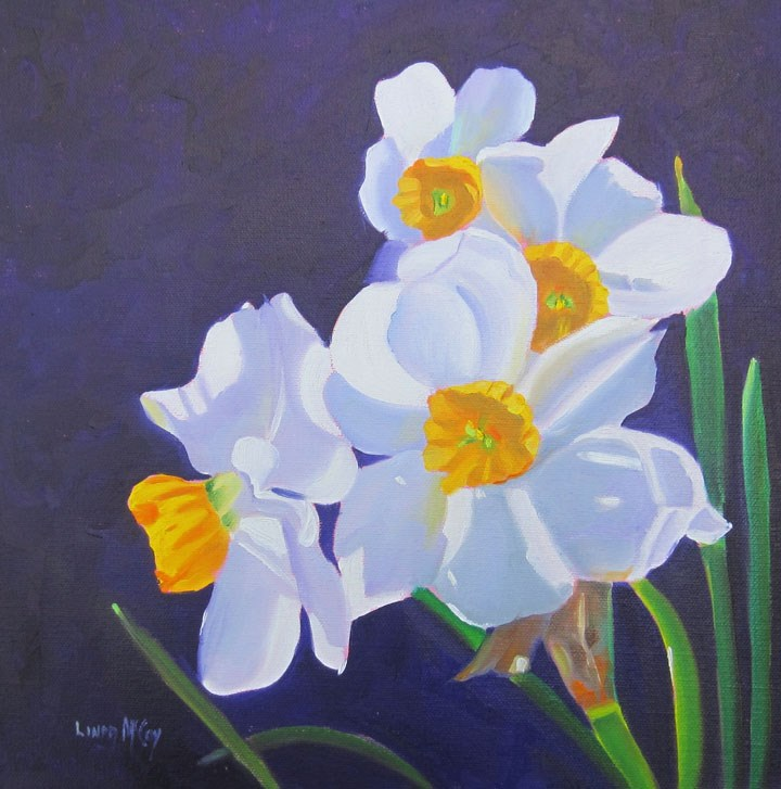 """Midnight In Memphis, Daffodil Oil Painting by Linda McCoy"" original fine art by Linda McCoy"