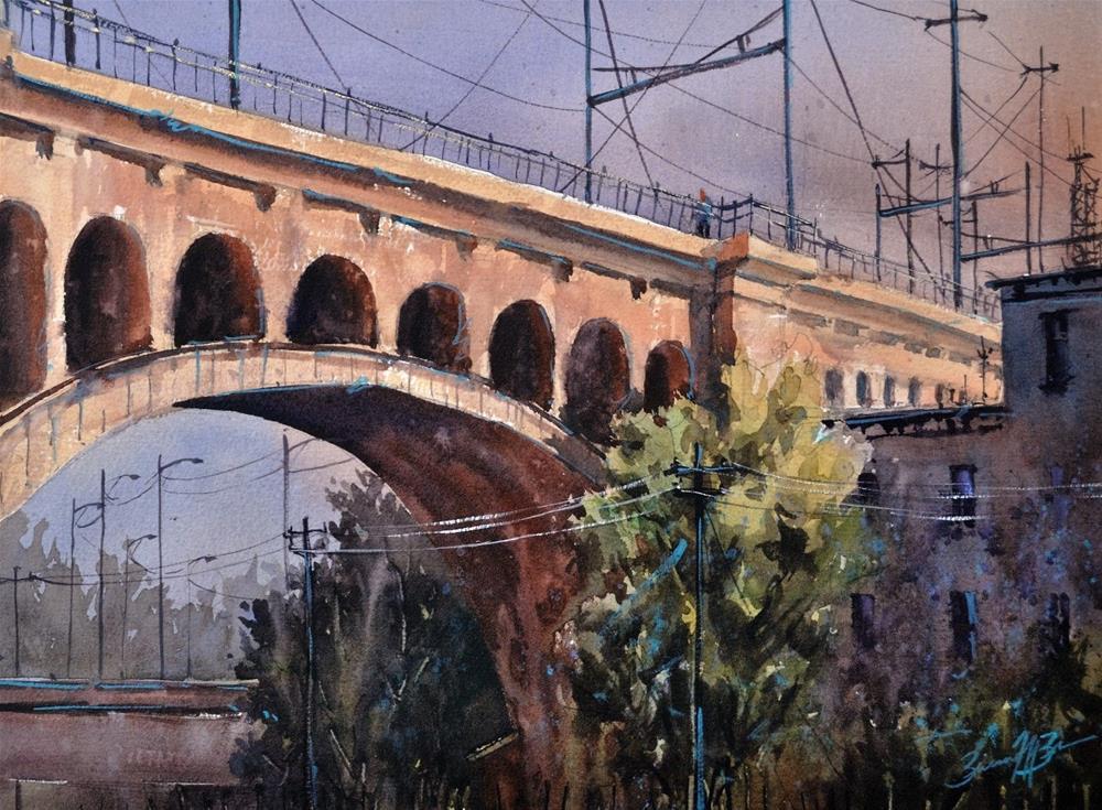 """""""Manayunk Bridge"""" original fine art by Brienne M Brown"""