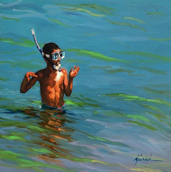 """The Dive"" original fine art by Karin Jurick"