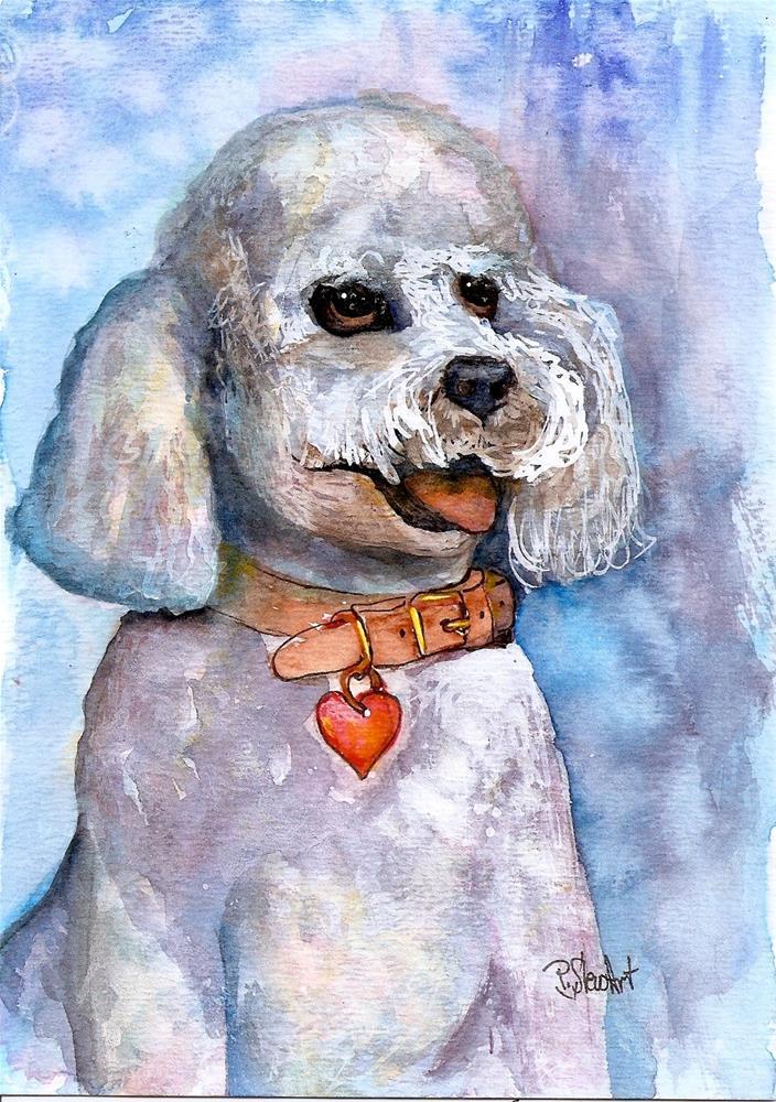 """5x7 Poodle Pet Portrait Watercolor, Pen and Ink by Penny Lee StewArt"" original fine art by Penny Lee StewArt"