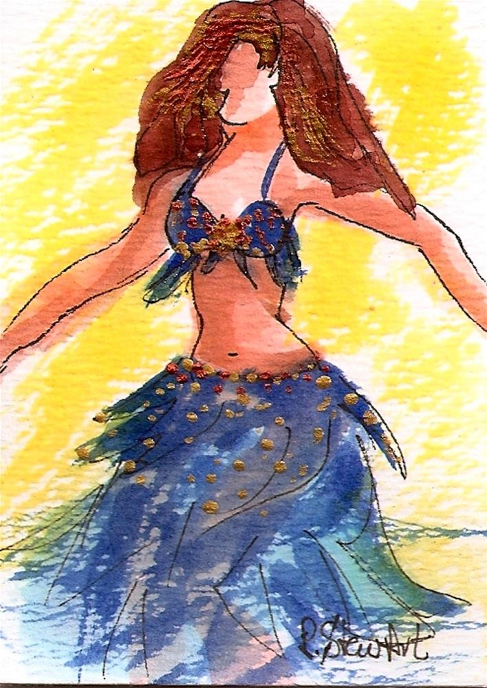 """""""ACEO Bellydancer #24 in a series, Watercolor and pen, copper accents, blue cabaret costume"""" original fine art by Penny Lee StewArt"""