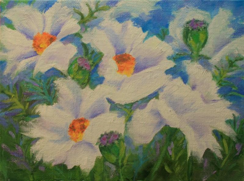 """White Poppies "" original fine art by Jean Nelson"