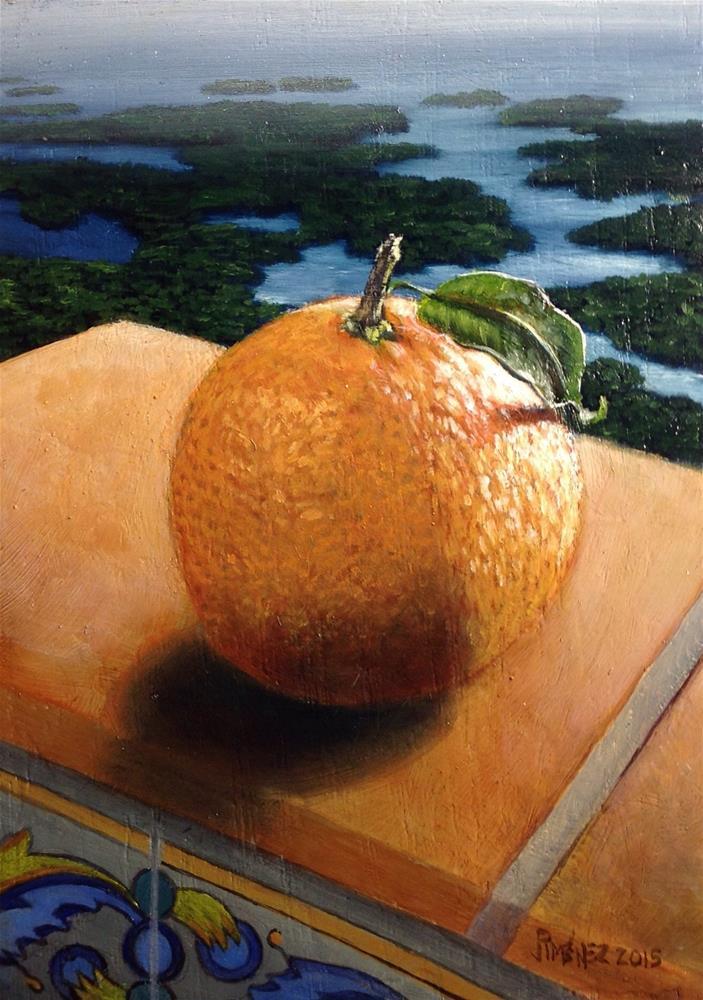"""Orange contemplating  the sunset 5×7 inches oil on panel"" original fine art by Paulo Jimenez"