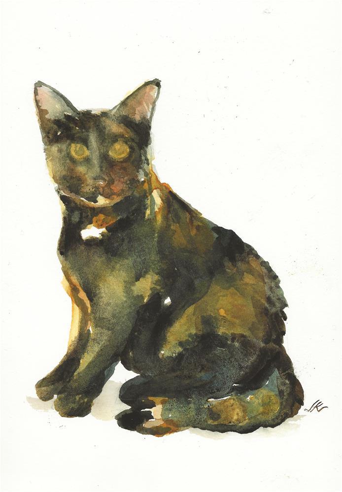 """Brindle Cat"" original fine art by Jean Krueger"