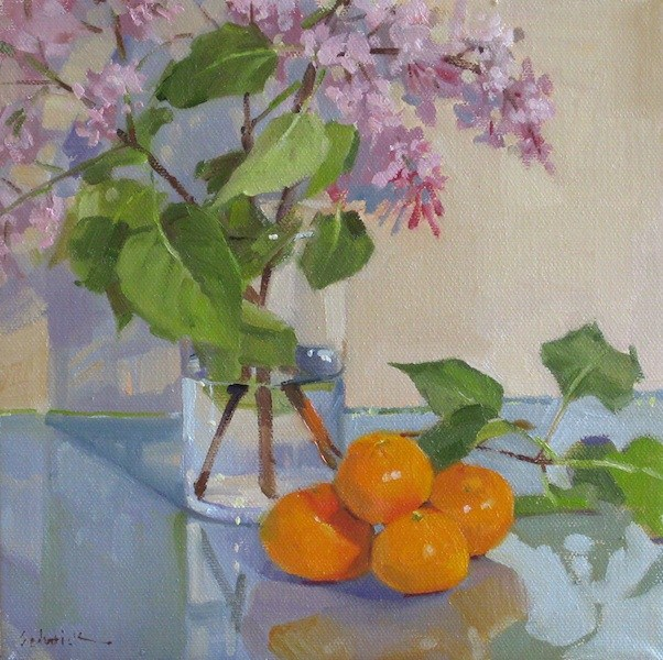 """""""Pink Lilacs floral flower fruit daily painting oil on canvas"""" original fine art by Sarah Sedwick"""