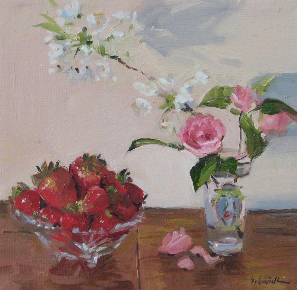 """Strawberries and Spring Blooms"" original fine art by Sarah Sedwick"
