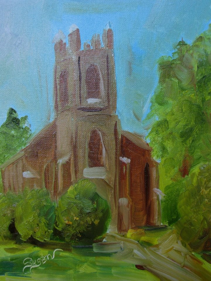"""St. John's Church, Ashwood"" original fine art by Susan Elizabeth Jones"