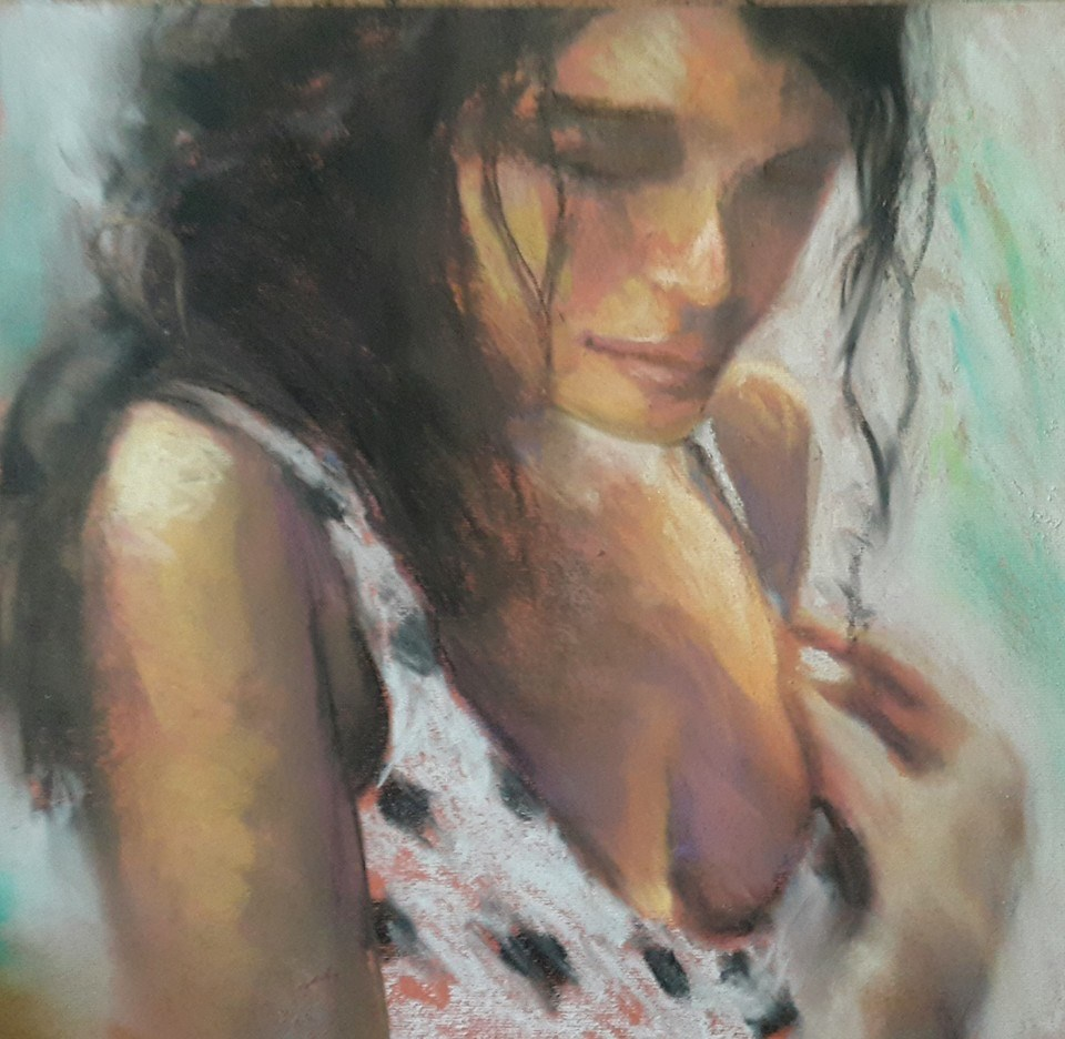 """Dotty girl"" original fine art by Rentia Coetzee"