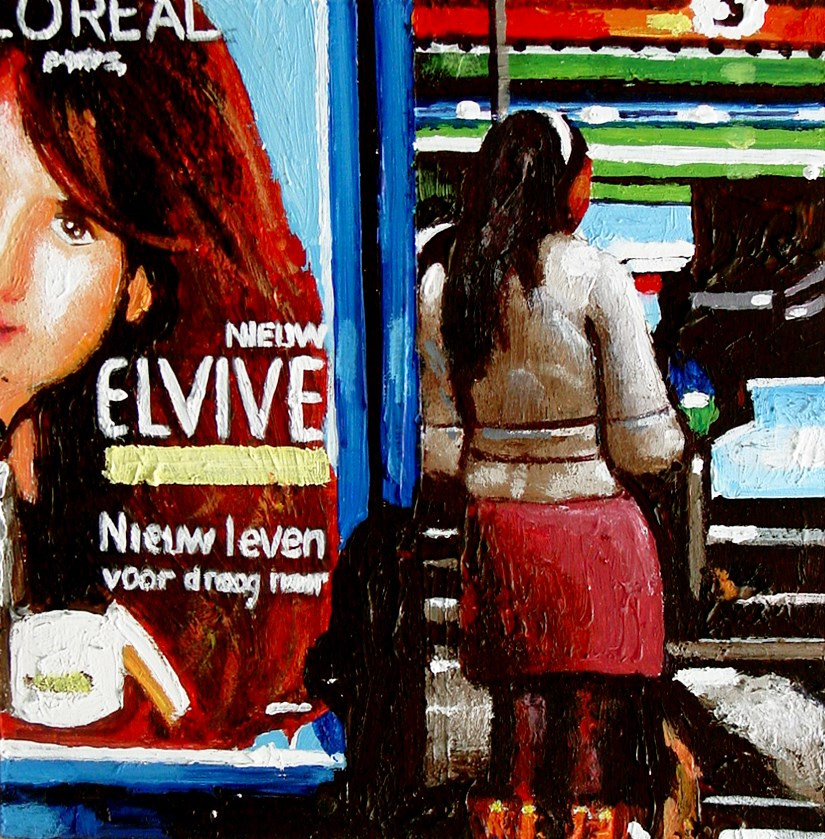 """Elvive- Woman Waiting For Tram In Amsterdam"" original fine art by Gerard Boersma"