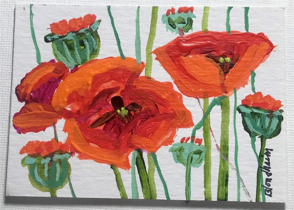 """""""Poppie Blooms"""" original fine art by Linda Blondheim"""