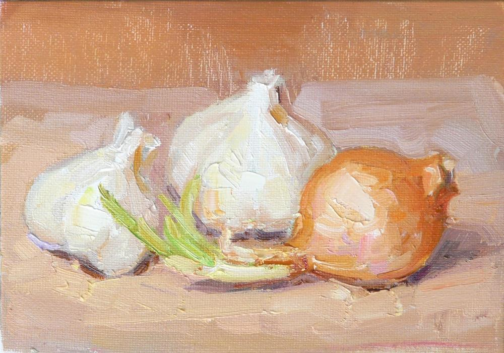 """Garlics and Onion,still life,oil on canvas,5x7,price$175"" original fine art by Joy Olney"