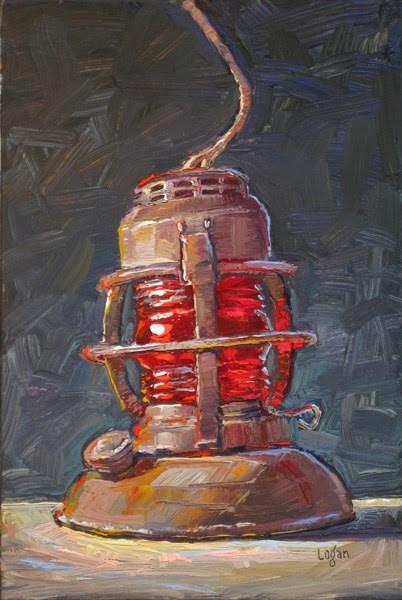 """Old Signal Lantern"" original fine art by Raymond Logan"