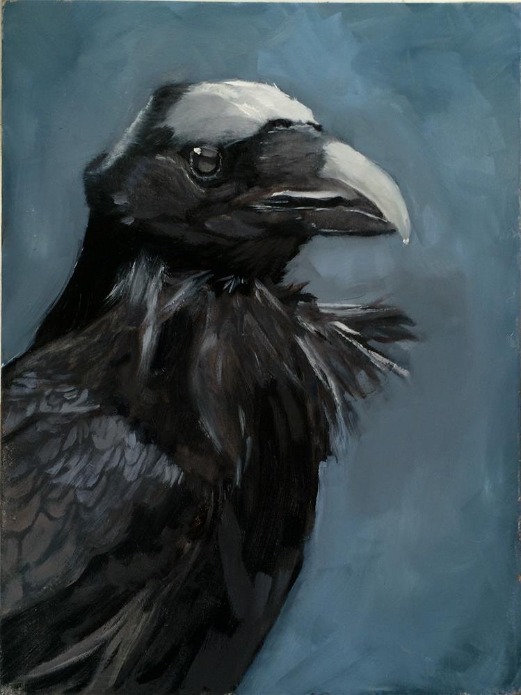 """""""Moonlit Raven"""" original fine art by Leslie Miller"""
