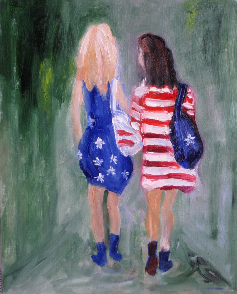 """School Fashion"" original fine art by Julia Lu"