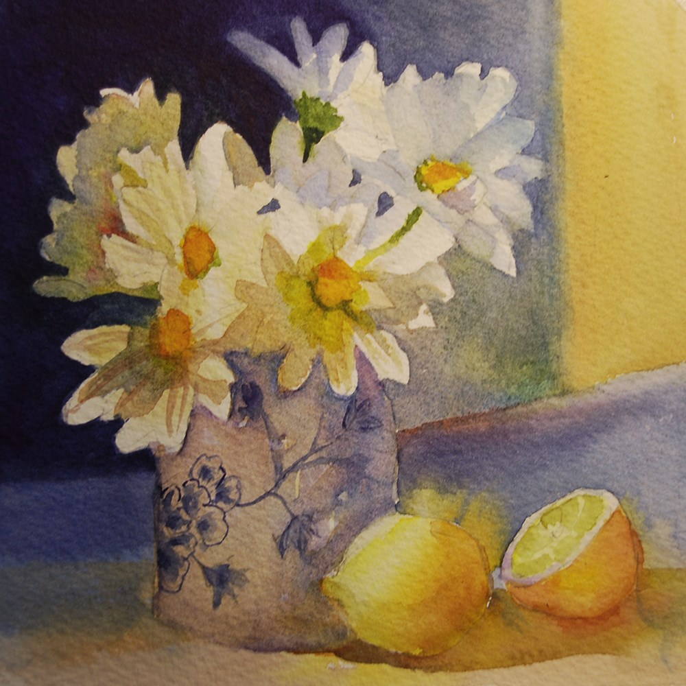 """""""Daisies and Lemons"""" original fine art by Mary Anderson"""