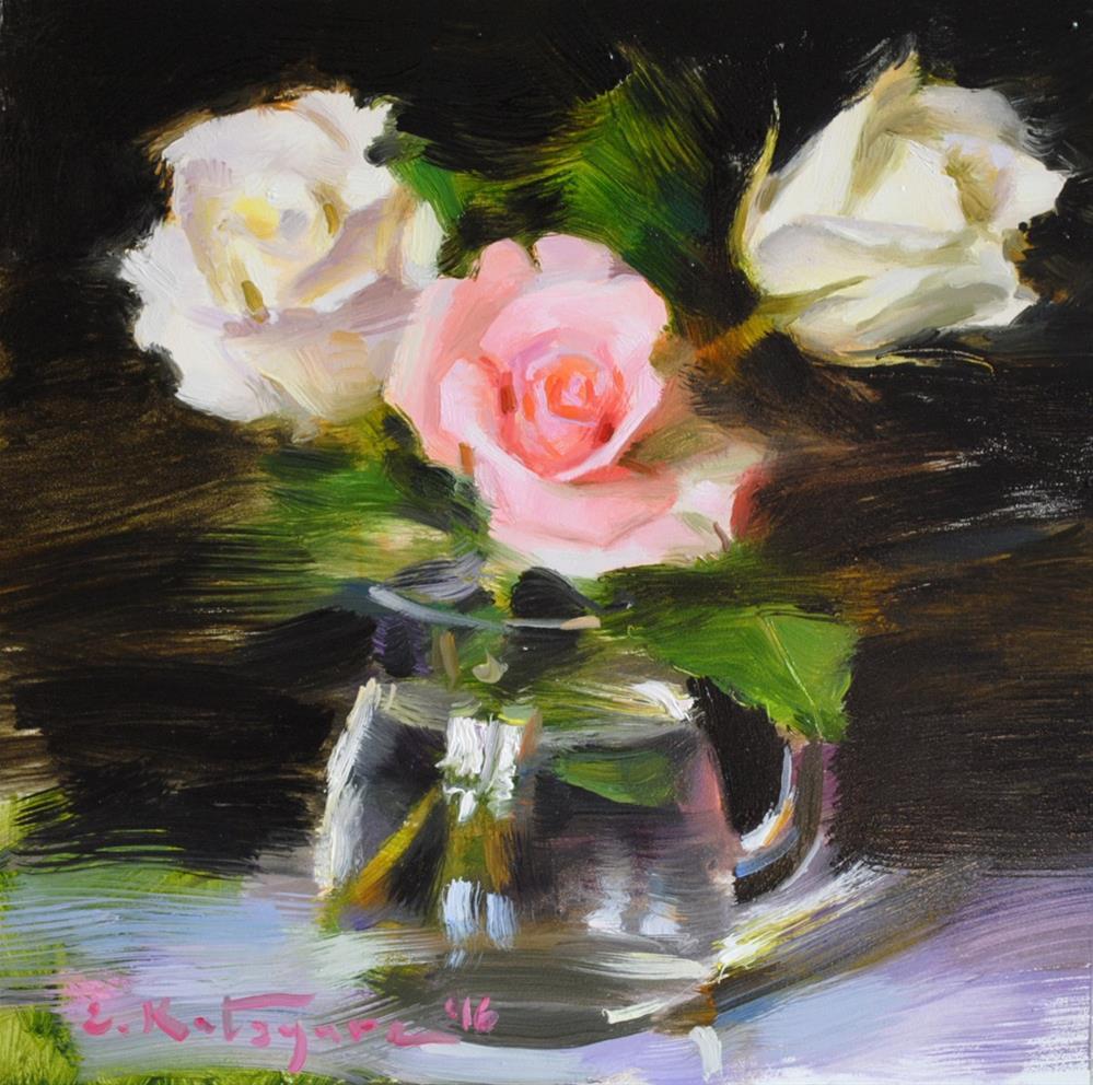 """Three Roses"" original fine art by Elena Katsyura"