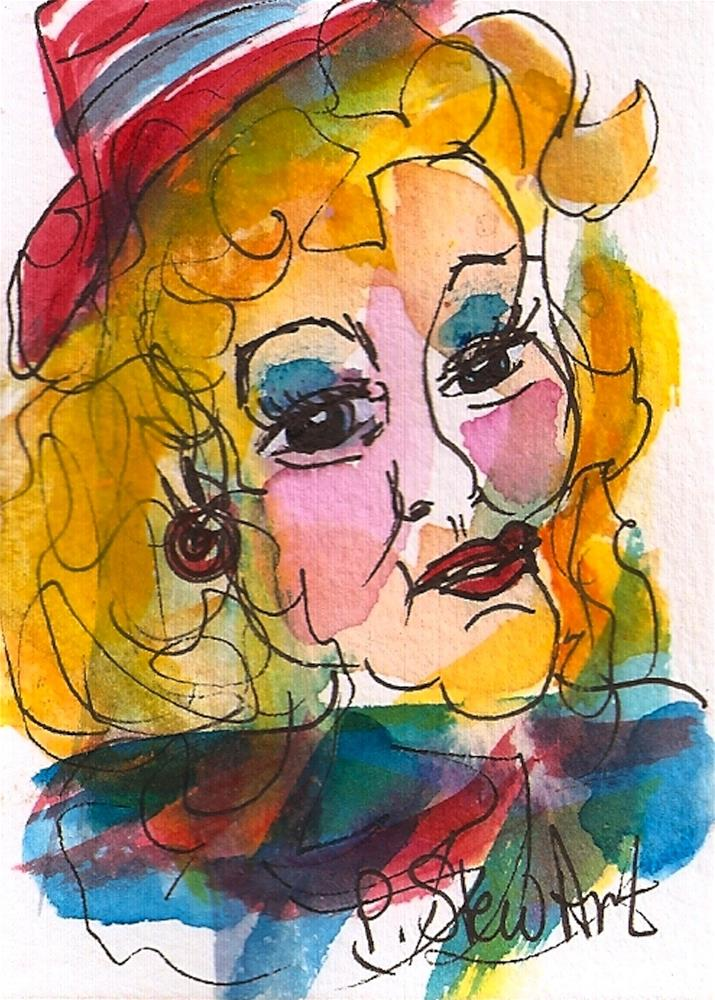 """""""ACEO A Natural Strawberry Blonde Watercolor and Pen, Whimsical Portrait"""" original fine art by Penny Lee StewArt"""