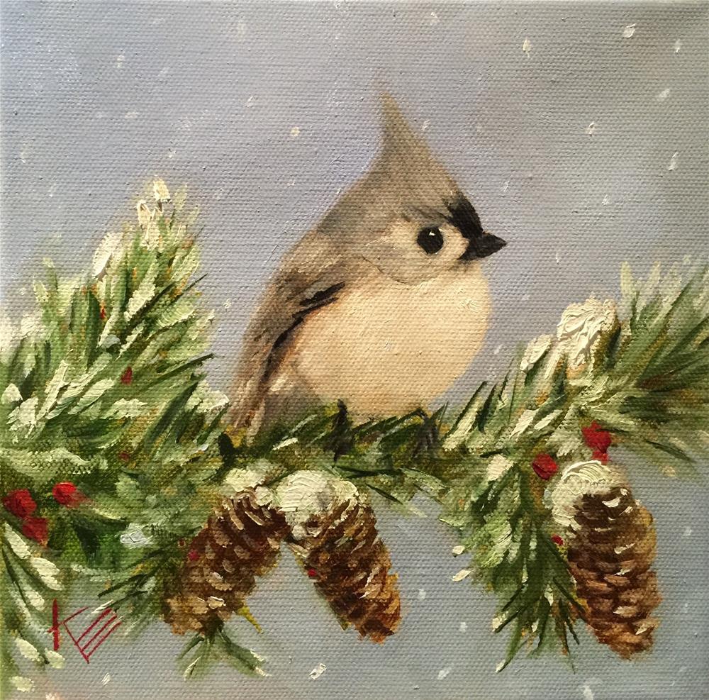 """Blue Titmouse in the Snow"" original fine art by Krista Eaton"
