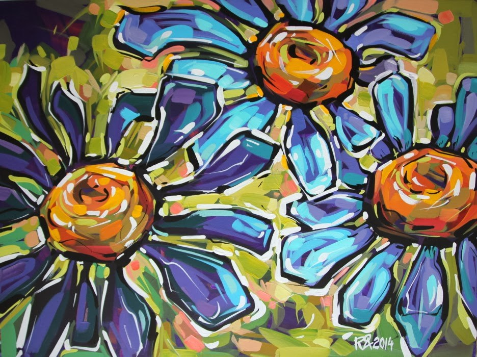 """Flower Abstraction 72"" original fine art by Roger Akesson"