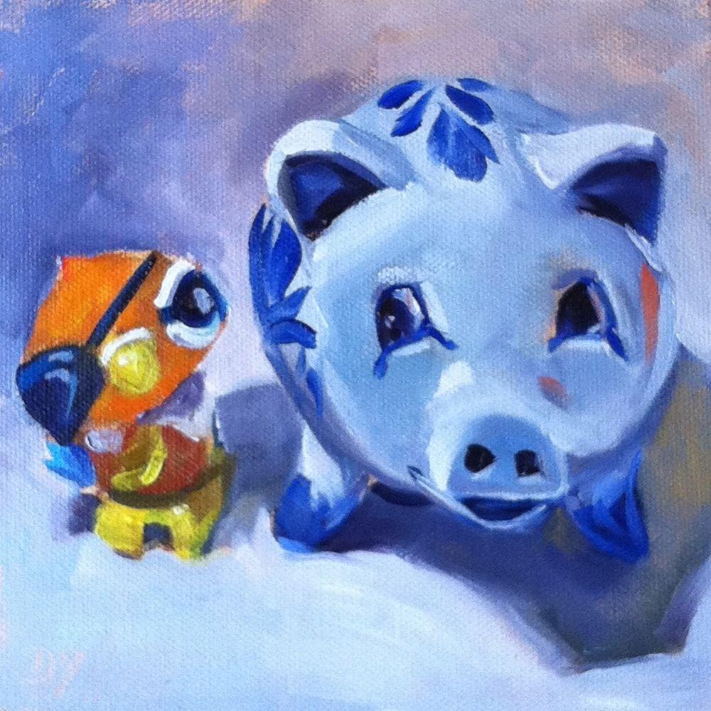 """""""Best Friends, oil on board, 6x6"""" original fine art by Darlene Young"""
