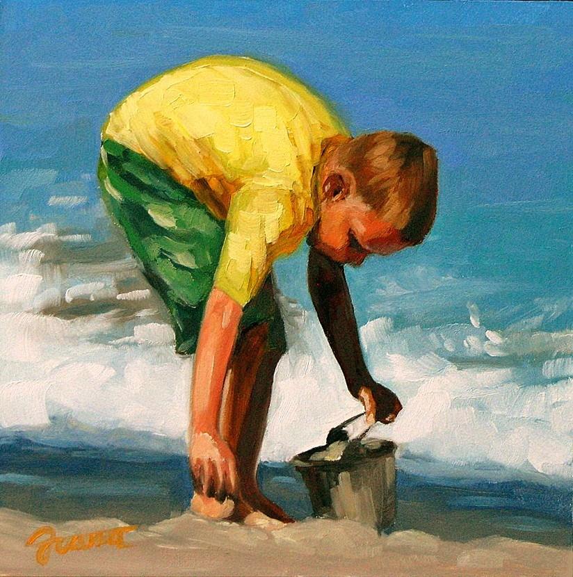 """Yellow Wetsuit--Beach Babies Series"" original fine art by Joanna Bingham"