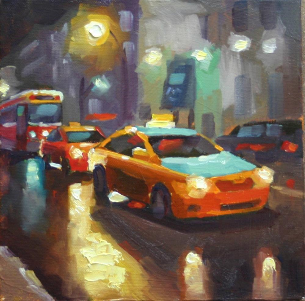 """Taxi, Taxi, Streetcar"" original fine art by Catherine Jeffrey"