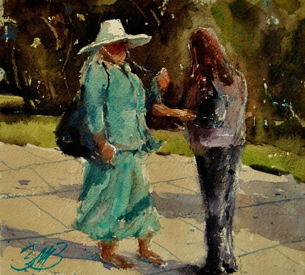 """""""Lady in Turquoise"""" original fine art by Brienne M Brown"""