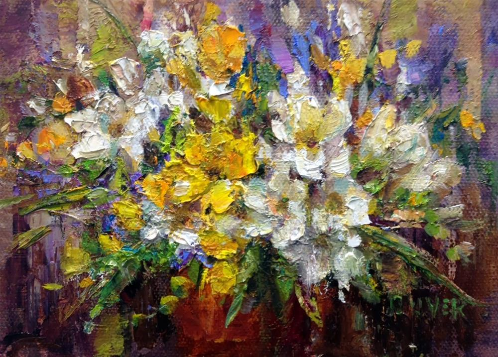 """""""Freesias and a Neat Product"""" original fine art by Julie Ford Oliver"""