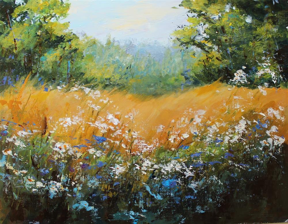 """Landscape Wild Flowers Original Art Painting"" original fine art by Alice Harpel"
