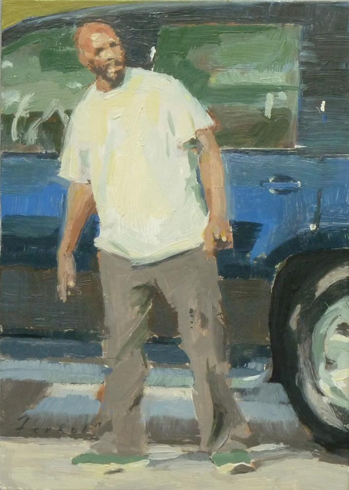 """With His SUV"" original fine art by Ron Ferkol"