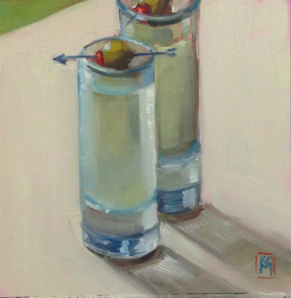 """""""Two Dirty Martini's, Coming Right Up, 6x6 Inch Oil Painting by Kelley MacDonald"""" original fine art by Kelley MacDonald"""
