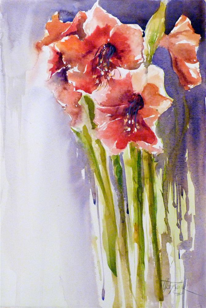 """Amaryllis"" original fine art by Christa Friedl"