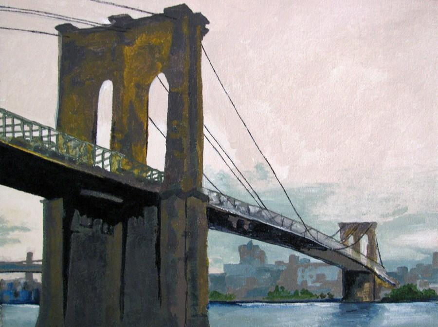 """Brooklyn Bridge"" original fine art by Nan Johnson"