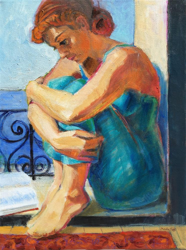 """First Day of Spring, figurative woman painting, sitting in window, female figuration, contemporary f"" original fine art by Marie Fox"