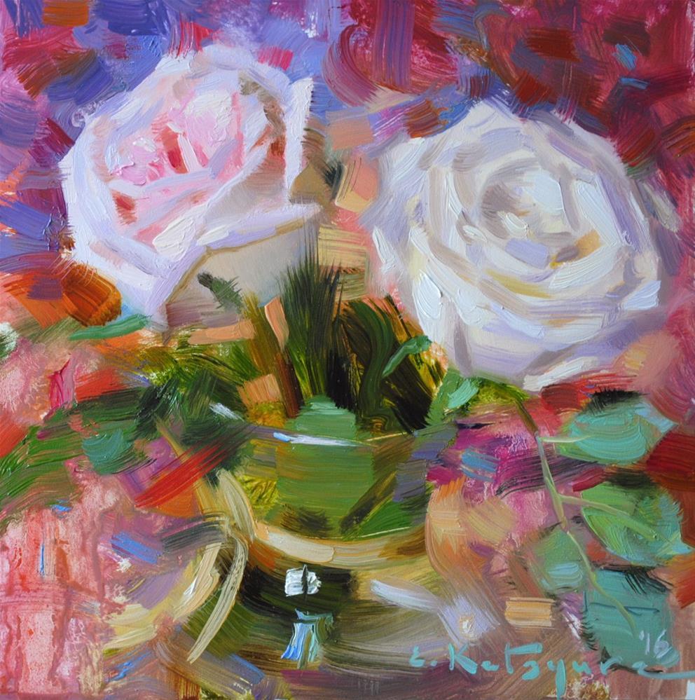 """Roses in Vase"" original fine art by Elena Katsyura"