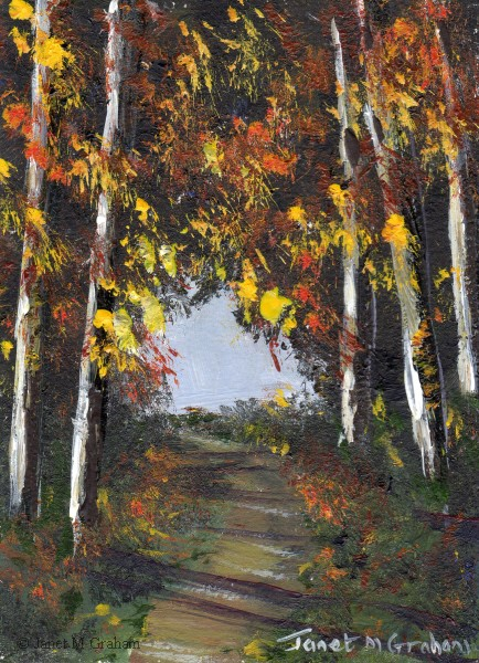 """Autumn Forest ACEO"" original fine art by Janet Graham"