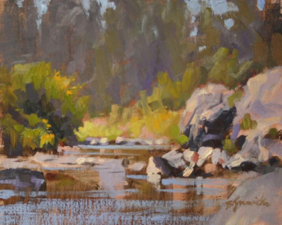 """Sunny Little Corner of Sawyer Park (study)"" original fine art by Barbara Jaenicke"
