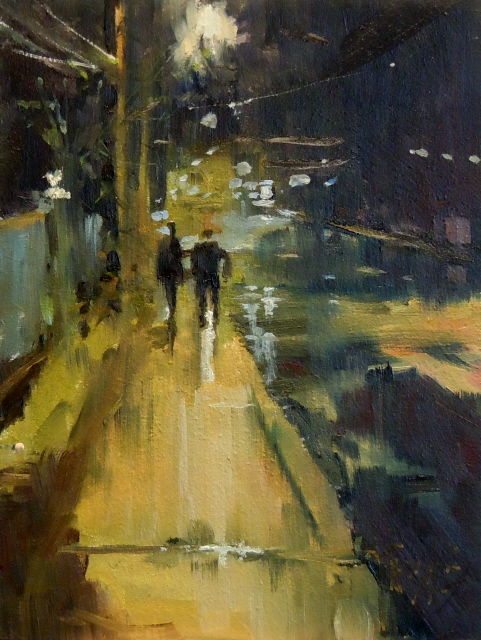 """Night Reflections  nocturne, urban oil painting"" original fine art by Robin Weiss"