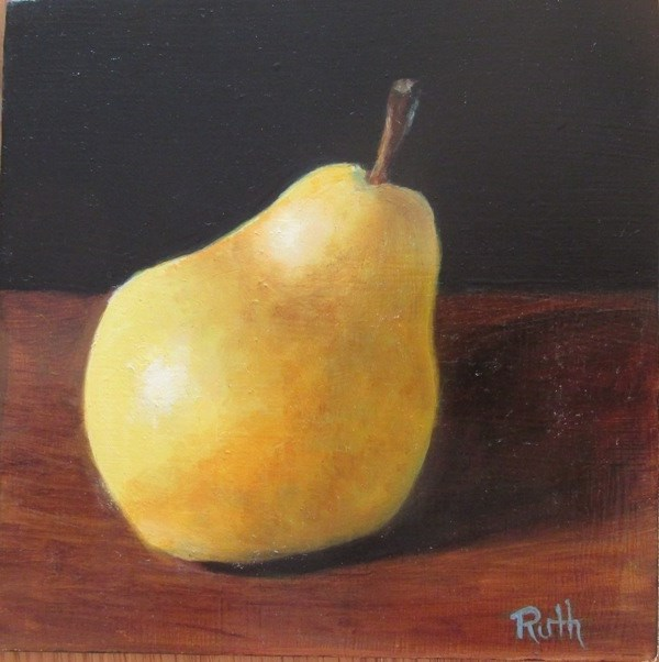 """One Pear"" original fine art by Ruth Stewart"