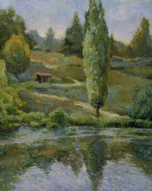 """River Thouet  at St. Loup"" original fine art by Julie Snyder"