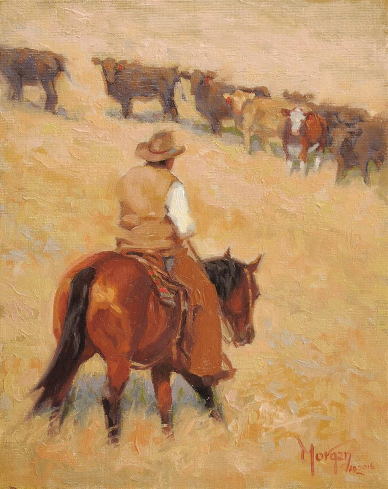 """The Red Heifer #2"" original fine art by Cecile W. Morgan"
