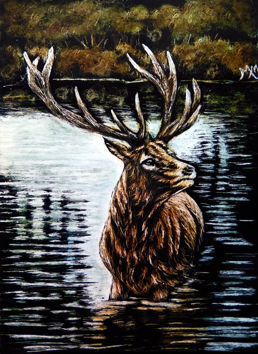 """Elk Lake - SA101"" original fine art by Monique Morin Matson"