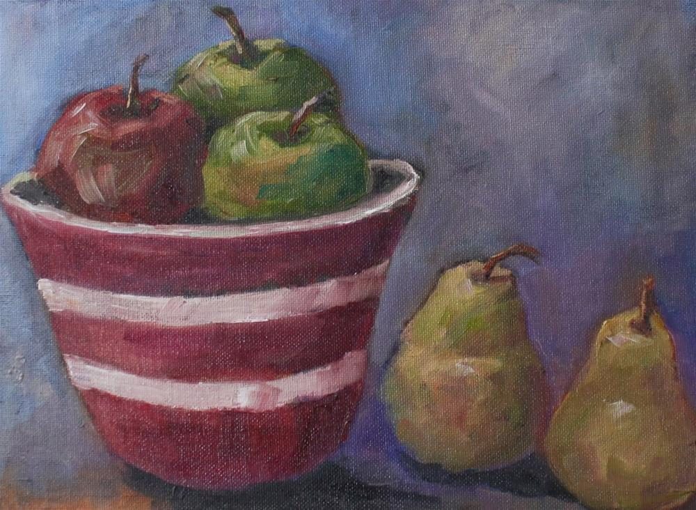 """""""Apples and Pears"""" original fine art by Maggie Flatley"""