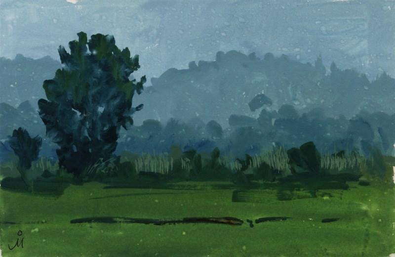 """View From Watane Farm, Mulshi"" original fine art by Mandar Marathe"
