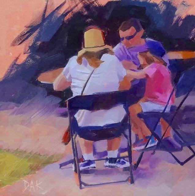 """Sidewalk Lunch"" original fine art by Deborah Ann Kirkeeide"