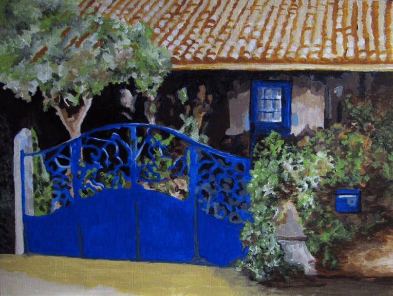 """The Blue Gate"" original fine art by Nan Johnson"