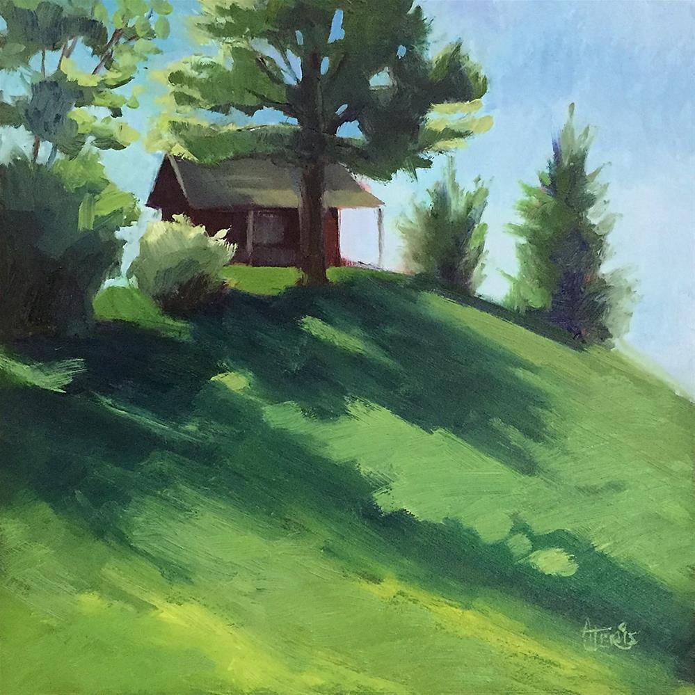 """Cabin on the Hill"" original fine art by Andrea Jeris"