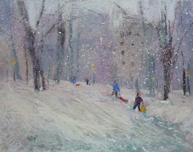 """""""Painting A Snow Scene in Six Easy Steps"""" original fine art by Karen Margulis"""
